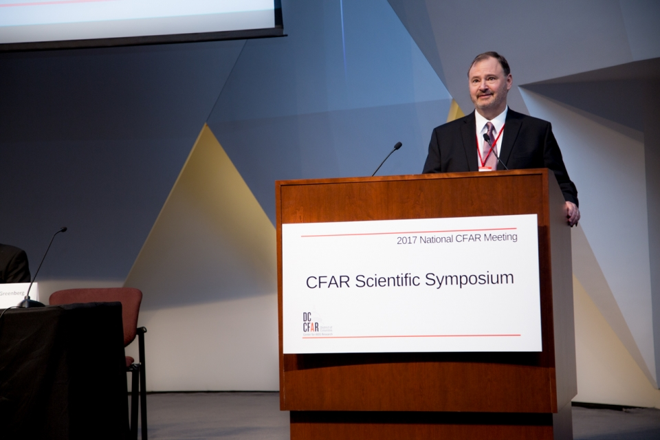 Alan Greenberg welcomes the audience to the 2017 National CFAR Meeting