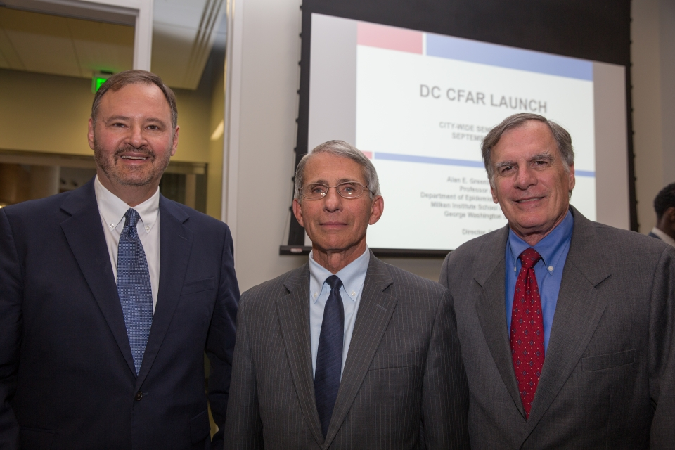 Alan Greenberg, Anthony Fauci, and Gary Simon smile at the camera