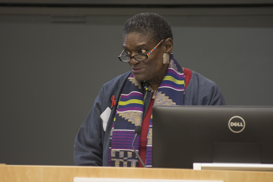Marcia Ellis welcomes guests to Annual Research Day 2018
